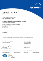 GeDe Certificate DIN EN ISO 9001 : 2015 / deutsch